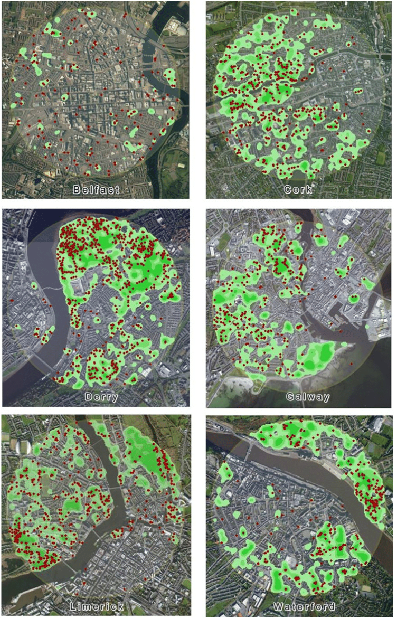Green signatures of Irish cities